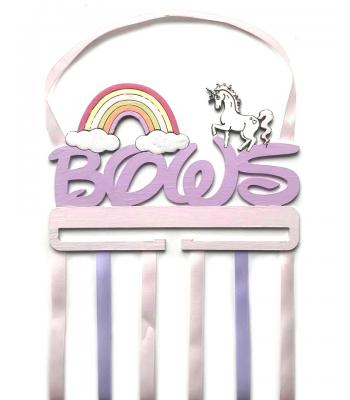 'Bows' Hanging Holder with Unicorn and Rainbow Shapes