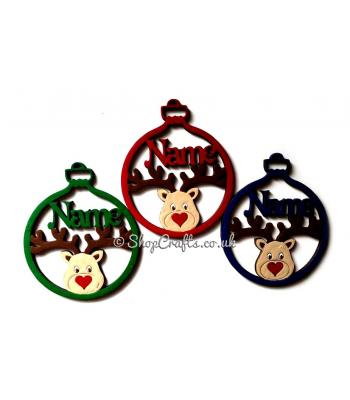 Personalised Christmas Name Bauble with Reindeer Head 100mm Size