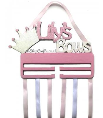 Personalised Name Princess Crown Hanging Bow Holder