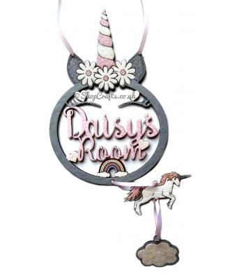 Personalised Large Unicorn Dream Catcher Room Sign with Hanging Shapes