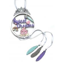 """""""Sweet Dreams"""" Princess Dream Catcher with Hanging Feathers"""