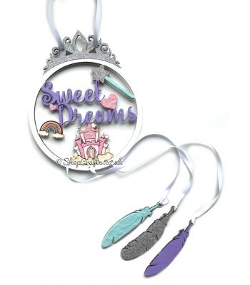 """Sweet Dreams"" Princess Dream Catcher with Hanging Feathers"