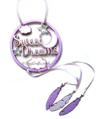 Sweet Dreams Dream Catcher with Hanging Feathers