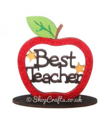 Miniature Star encrusted Best Teacher Apple On Stand *More Designs Available