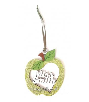 Teacher's Personalised Pocket Sized Hanging Apple Baubles