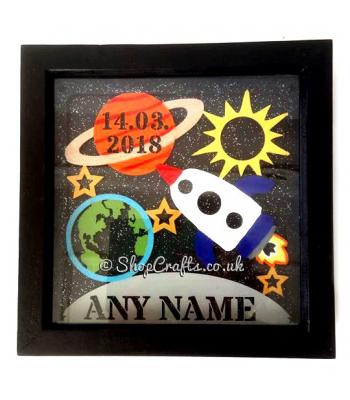 Space Birth Details Sampler Box Frame Plaque