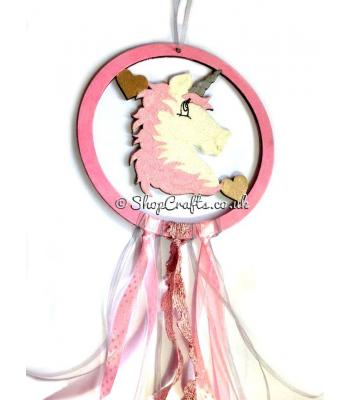 Childrens Mini Dream catcher with Unicorn head inside