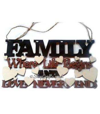 FAMILY Where life begins, and love never ends quote plaque
