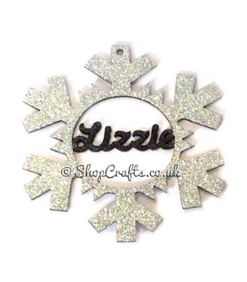 Personalised Christmas Tree Snowflake Bauble - 12cm