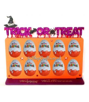 Kinder Egg Holder on a 'Happy Halloween' Stand 6mm - Halloween design.