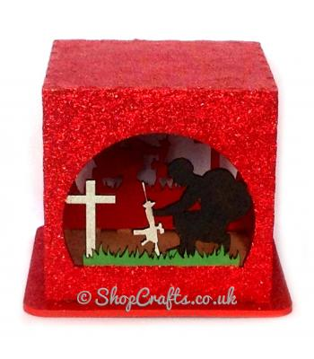 Lest we Forget led tea light box, remembrance day poppy and soldier design laser cut