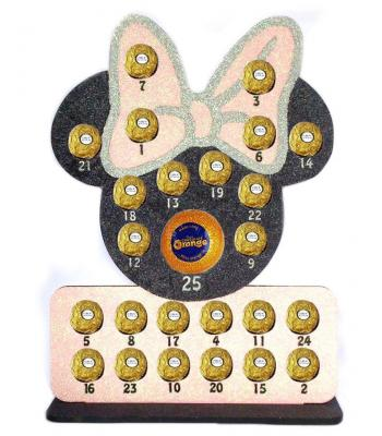 Reusable Chocolate Advent Mouse Head with Bow Plaque Chocolate Orange and Ferrero Rocher Advent