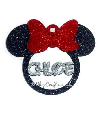Personalised Mouse head with Bow 12cms