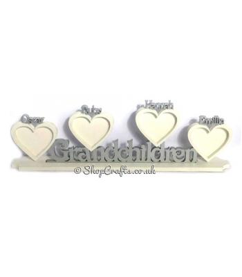 Family name with personalised Heart photo frames on a stand
