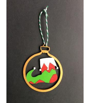 Xmas Bauble-  ELF SHOE design - Gift bag included