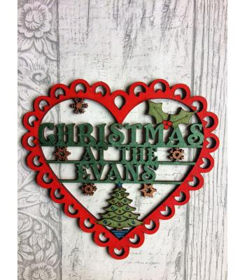 Personalised with surname 'Christmas At The...' Lace Heart Design