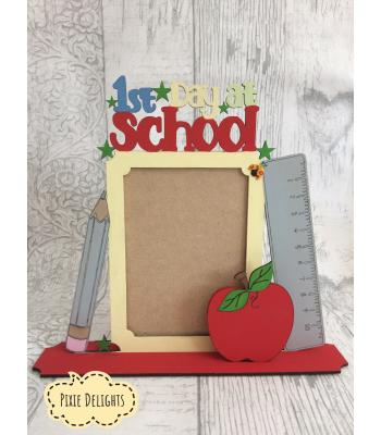 First Day at... (School OR Nursery) photo frame keepsake on a stand