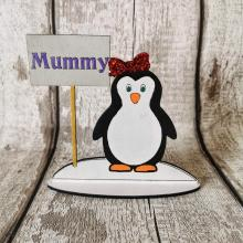 Christmas Table Place Setting personalised with name - Penguin (female) design
