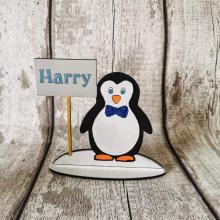 Christmas Table Place Setting personalised with name - Penguin (male) design