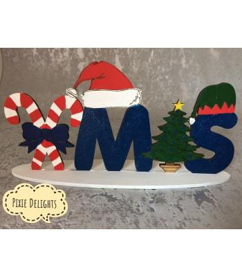 Christmas decorations 'XMAS' word on a stand - 3 DESIGNS