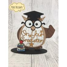 Graduation gift - Owl shape 'On your Graduation' with books on a stand