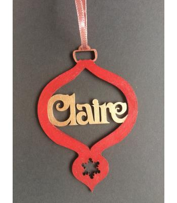 Xmas Bauble - Vintage design - PERSONALISED with name - Gift Bag included