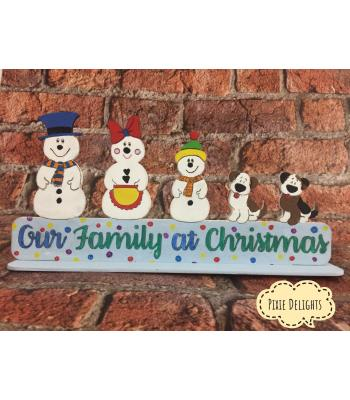 Personalised Family Christmas on stand- choose Snowman characters/animals - 2 designs available