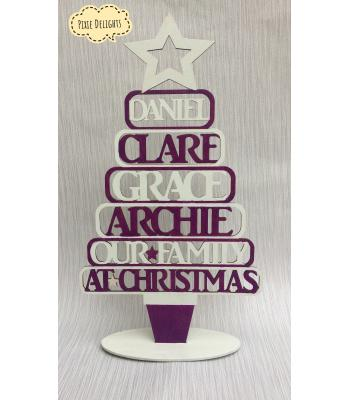 Christmas tree - Xmas decoration personalised with upto 10 family names - WORDING OPTIONS available