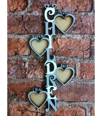 'Children' Vertical photo frame with PERSONALISED  wording and 1-15 PERSONALISED heart photo frames