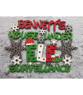 "Christmas ""house under Elf surveillance"" Quote/Sign PERSONALISED with Surname"