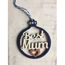 Xmas Bauble- 'Best Mum' design - Gift bag included