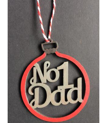 Xmas Bauble- NO.1 DAD design - Gift bag included