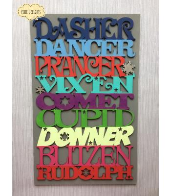 Santas Reindeer Sign - Dasher, Dancer, Prancer, Vixen, Comet, Cupid, Donner, Blitzen, Rudolph