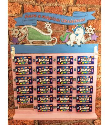 Christmas Advent Calendar - SMARTIES - UNICORN topper - 20 OTHER DESIGNS AVAILABLE HERE!