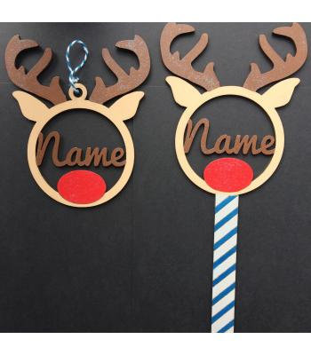 Christmas Reindeer wand and matching bauble gift set