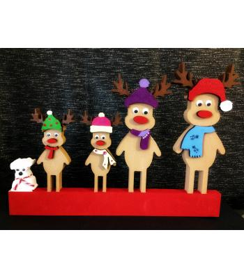 Xmas Reindeer  Family with 3D accessories - Choose family members!
