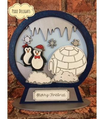 Xmas Snow globe  - 3D Detailed penguin design -Other designs available to select