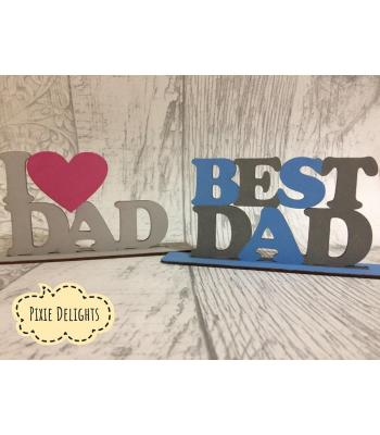 'DAD' sign on stand. 3 designs to choose from. Optional superhero logo
