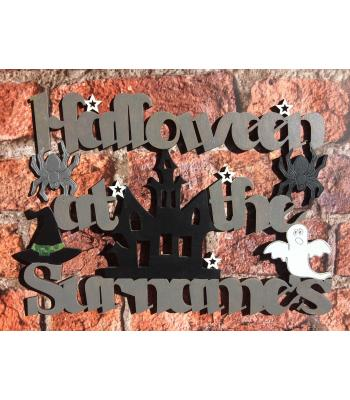 'Halloween at the...' Sign personalized with Surname - Haunted House design - OTHER DESIGNS