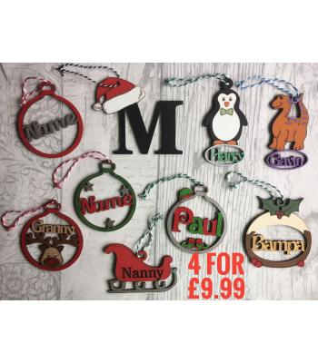 SPECIAL OFFER - £9.99 for ANY 4 PERSONALISED Christmas Tree Baubles