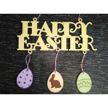 Happy Easter sign with hanging Easter eggs