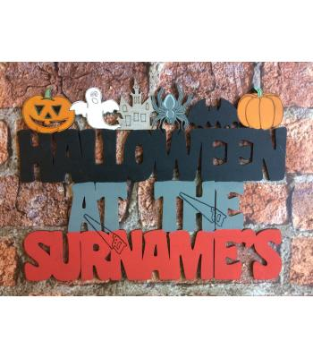 'Halloween at the...' Sign personalized with Surname - Halloween shapes design - OTHER DESIGNS
