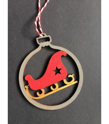 Xmas Bauble- Sleigh design - Gift bag included