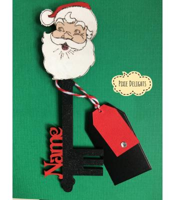 Santas Magic Key - Personalised with Name - Santa Head design (MANY MORE DESIGNS)