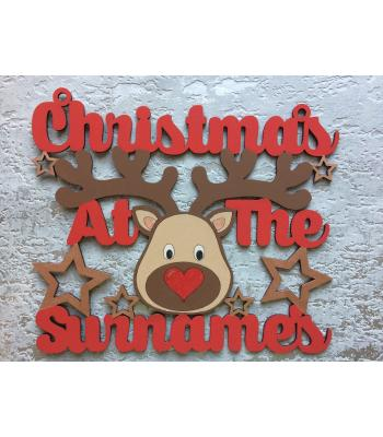 Personalised with surname 'Christmas At The...' Cute Reindeer Sign - Size Options