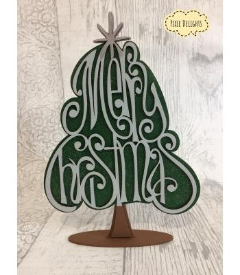 "Christmas tree with ""Merry Christmas"" Freestanding Xmas decoration"
