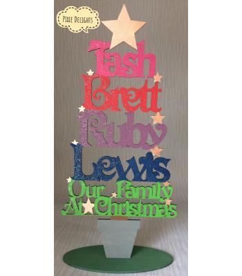 Christmas Tree decoration - personalised with names - various options including Welsh