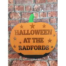 Halloween Pumpkin - Personalised with Surname - Tea light holder