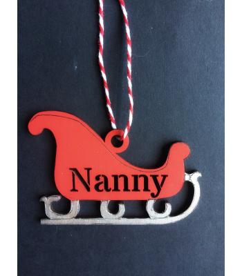 Xmas Bauble - Santa Sleigh - PERSONALISED with name - Gift Bag included