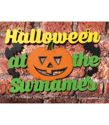 'Halloween at the...' Sign personalised with Surname -Pumpkin design - OTHER DESIGNS